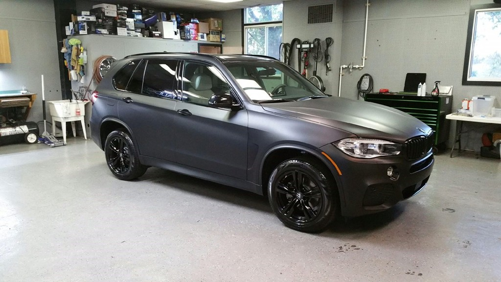 2016 BMW X5 With 3M Vinyl Wrap And Powder Coat OEM Wheels Gloss Black
