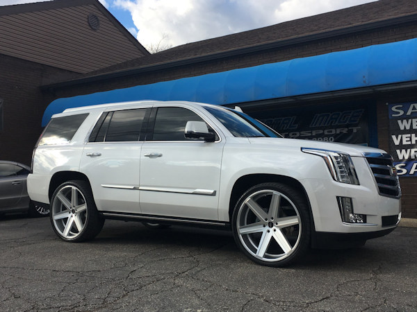2016 Cadillac Escalade with Ground Force rear lowering kit and 26 inch Giavanna wheels