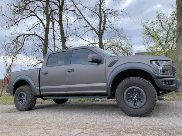 2019 Ford Raptor wrapped in 3m matte charcoal