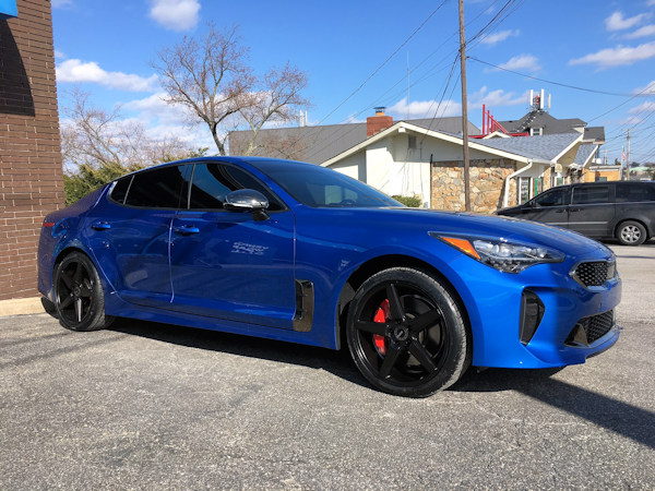 2018 Kia Stinger with 19 inch KMC District wheels and General G-Max tires