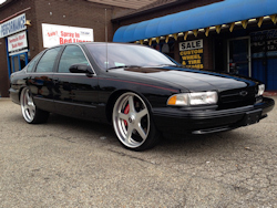Chevy Impala, custom made 24 inch wheels, full custom interior, stereo system, twin turbo set up, etc.