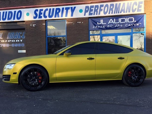 Audi A7 with 3M Satin Bitter Yellow vinyl wrap