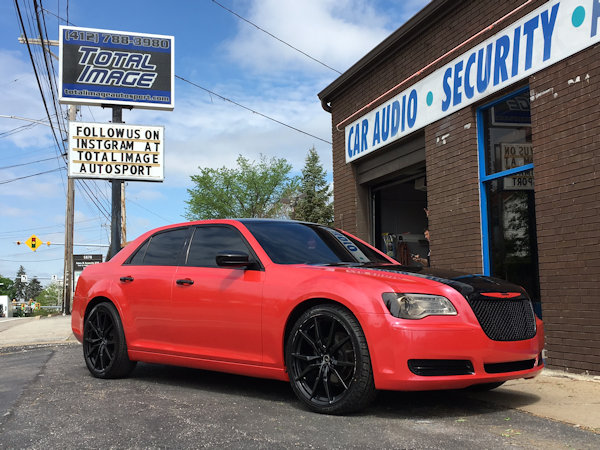 2013 Chrysler 300 with Avery Pearl Red Rush  and 3M Gloss Ember Black vinyl